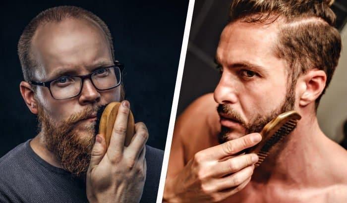 deux panneaux avec un homme utilisant une brosse à barbe et un autre avec un peigne